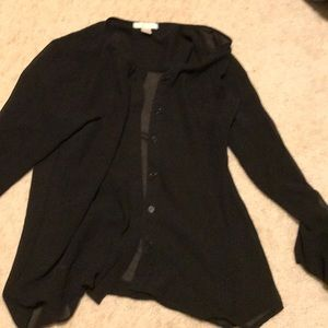 Tops - Black shear button up